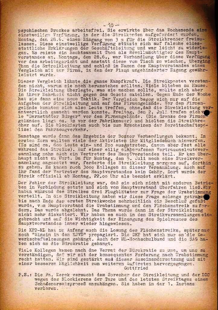Spartacus _ Gewerkschaftskommission Rhein_Main: Bulletin Chemietarifrunde 1971, Seite 10