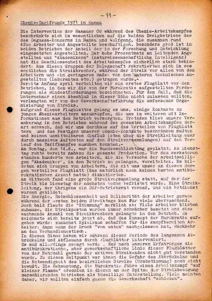 Spartacus _ Gewerkschaftskommission Rhein_Main: Bulletin Chemietarifrunde 1971, Seite 11