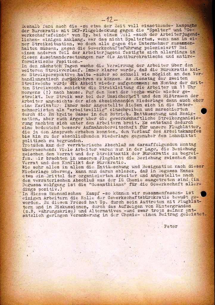 Spartacus _ Gewerkschaftskommission Rhein_Main: Bulletin Chemietarifrunde 1971, Seite 12