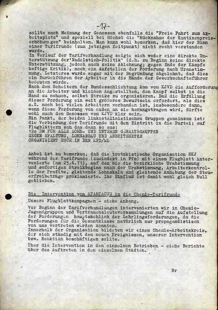 Spartacus _ Gewerkschaftskommission Rhein_Main: Bulletin Chemietarifrunde 1971, Seite 17
