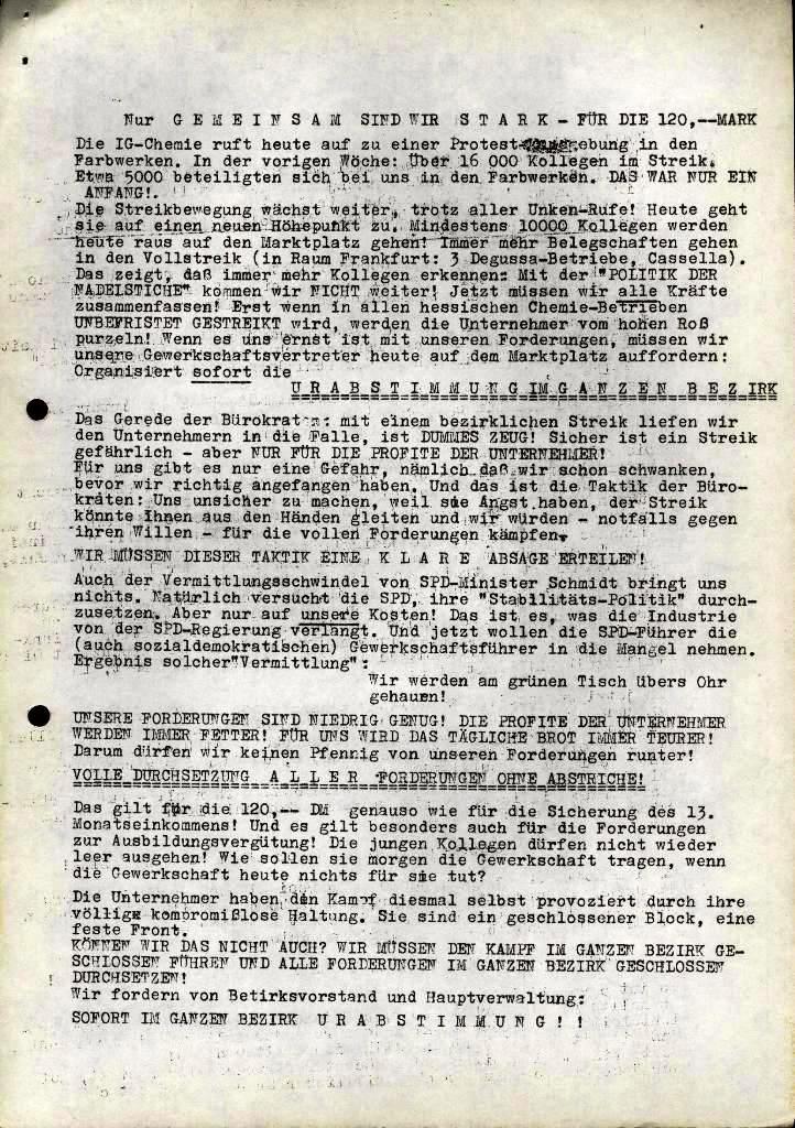 Spartacus _ Gewerkschaftskommission Rhein_Main: Bulletin Chemietarifrunde 1971, Seite 19