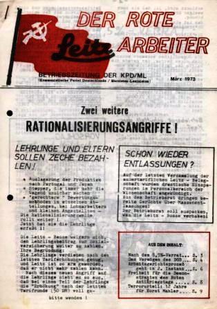 Der Rote Leitz Arbeiter _ Betriebszeitung der KPD/ML, März 1973