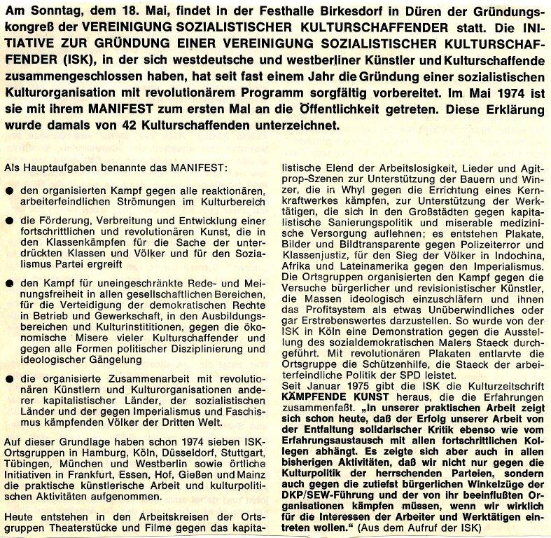 Artikel zur Gründung der VSK