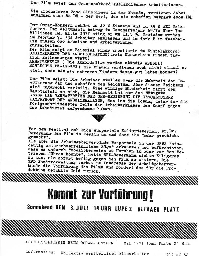 Akkordarbeiterin beim Osram_Konzern (1971), Vorderseite