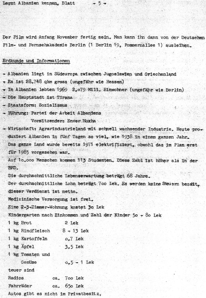Lernt Albanien kennen (1972), Blatt 5
