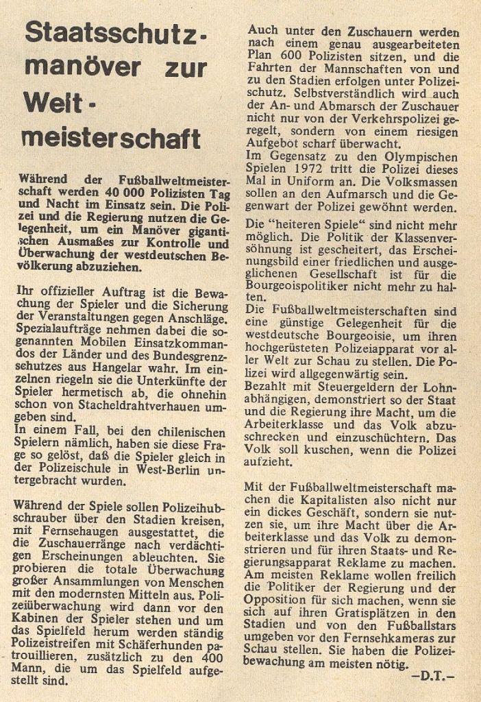 Aus: Schulkampf 4/1974, S. 11 zur Fussballweltmeisterschaft
