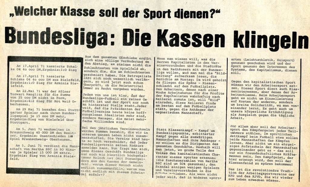 KDAJ: Welcher Klasse soll der Sport dienen? (1972)