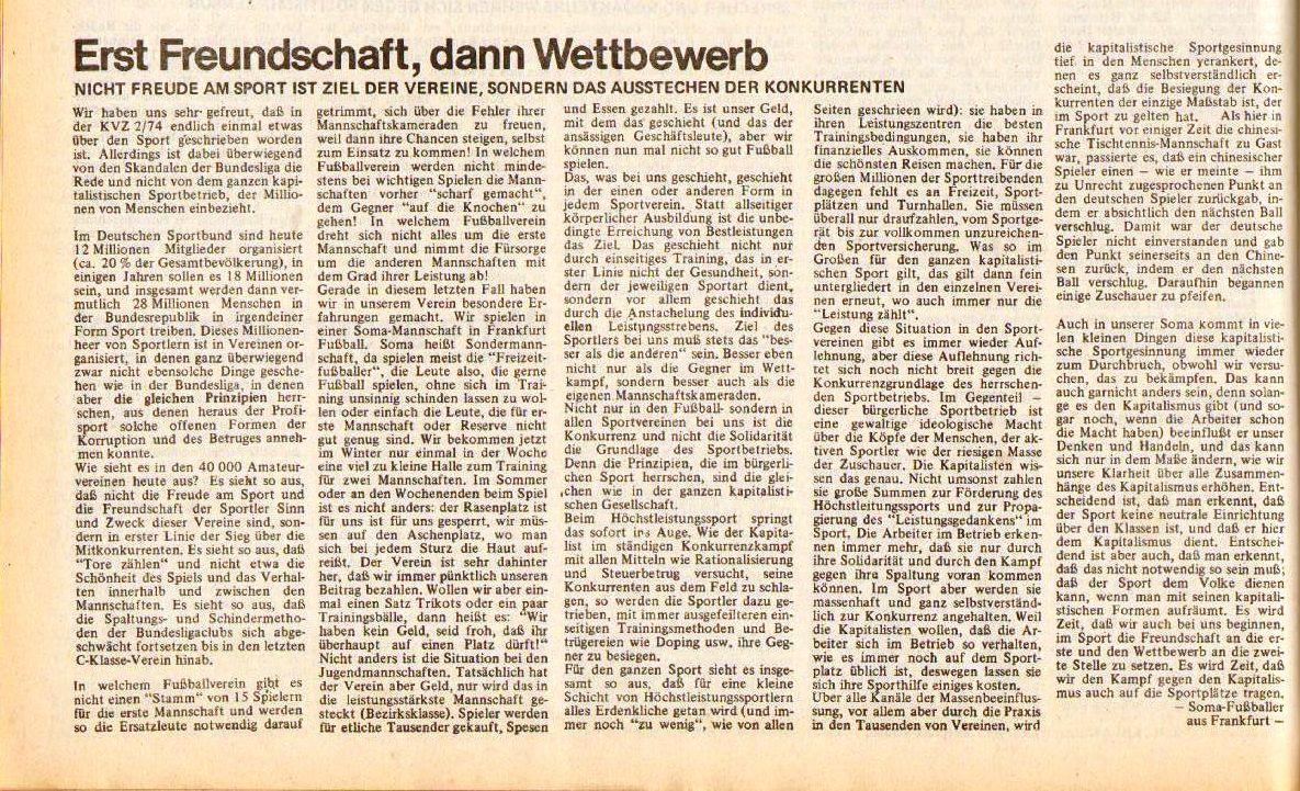 KVZ 4/74: Erst Freundschaftschaft, dann Wettbewerb