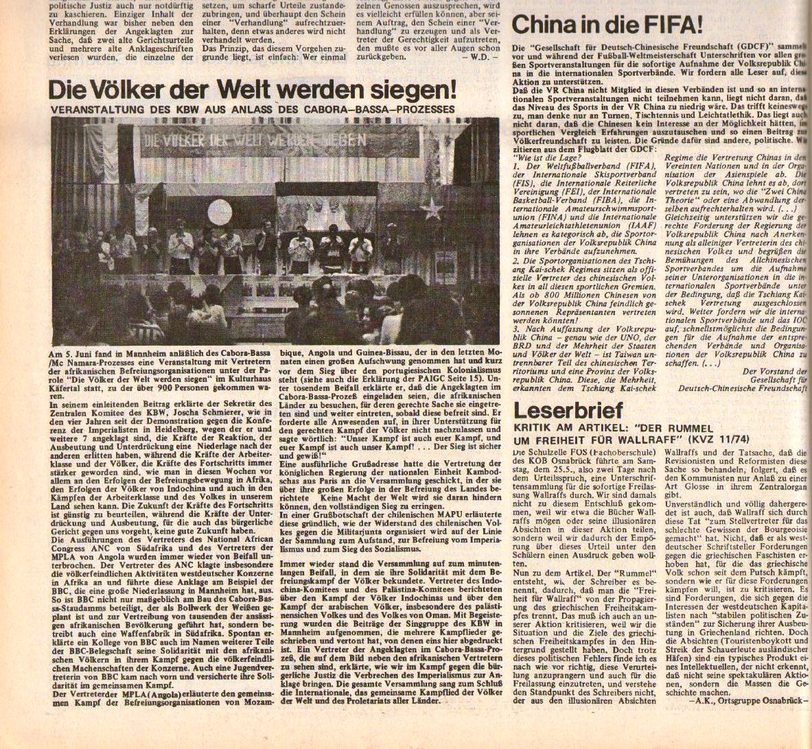 KVZ 12/74: China in die FIFA
