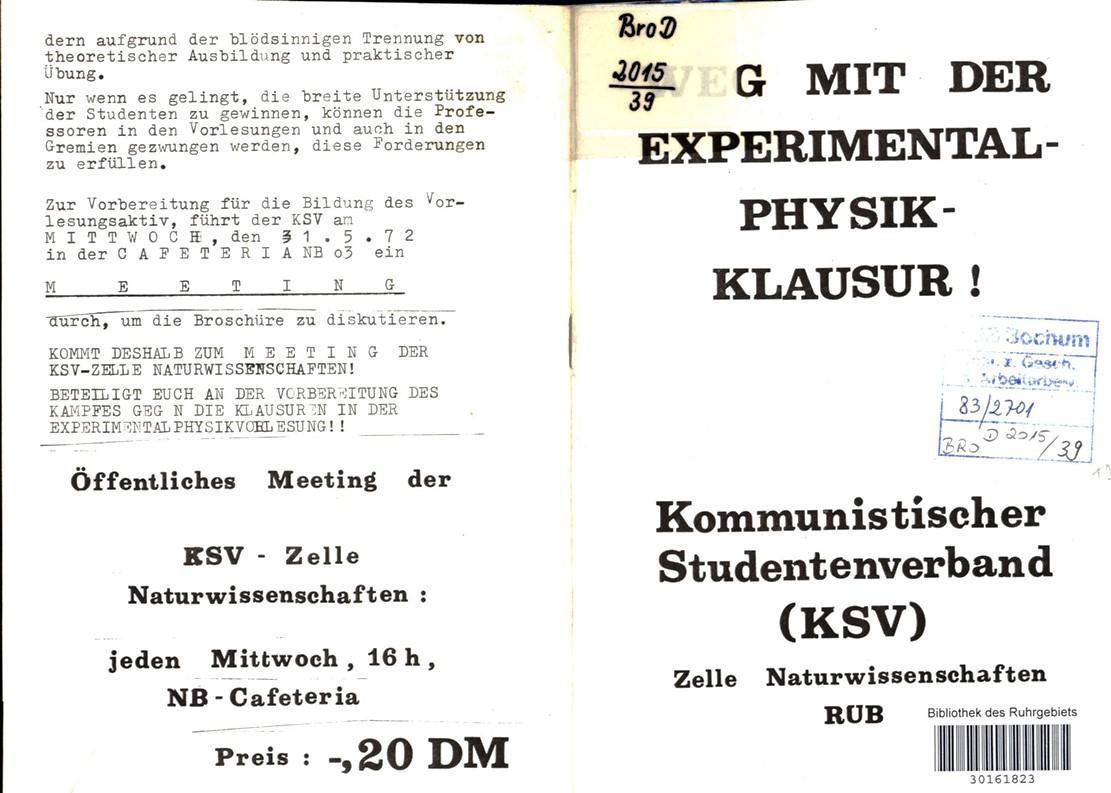 Bochum_KSV_VDS_1972_Experimentalphysikklausur_01