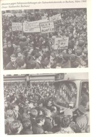 Aktionen gegen Fahrpreiserhöhungen im März 1968 in Bochum
