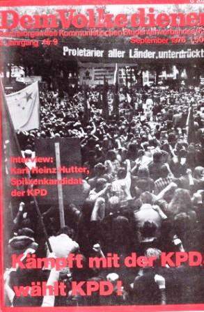 Dem Volke dienen _ Zentralorgan des Kommunistischen Studentenverbandes (Titelbild, September 1976)