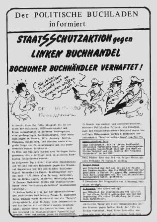 Der Politische Buchladen informiert: Staatsschutz gegen linken Buchhandel (Flugblatt von 1976)