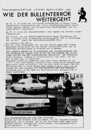 'Polizeischutz' für linken Buchladen oder wie der Bullenterror weitergeht (Flugblatt von 1976)