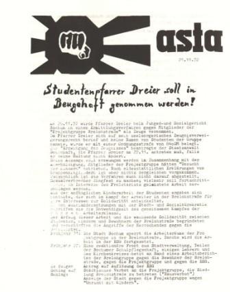 "Flugblatt des AStA: ""Studentenpfarrer Dreier soll in Beugehaft genommen werden!"""
