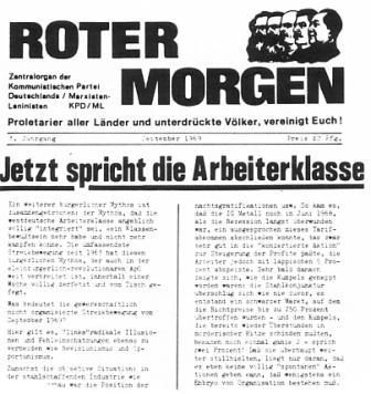 Roter Morgen (September 1969): Jetzt spricht die Arbeiterklasse