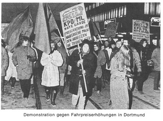 Demonstration gegen Fahrpreiserhöhungen in Dortmund 1971