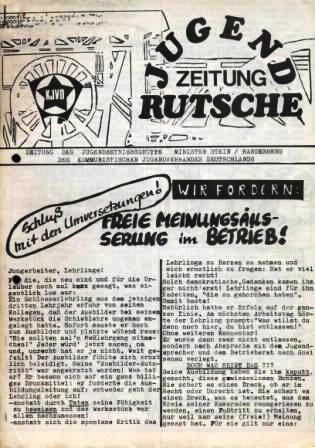 Jugendzeitung Rutsche _ Zeitung der Jugendbetriebsgruppe Minister Stein/Hardenberg des KJVD