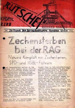 Rutsche _ Zeitung der Betriebsgruppe Minister Stein der KPD/ML und des KJVD