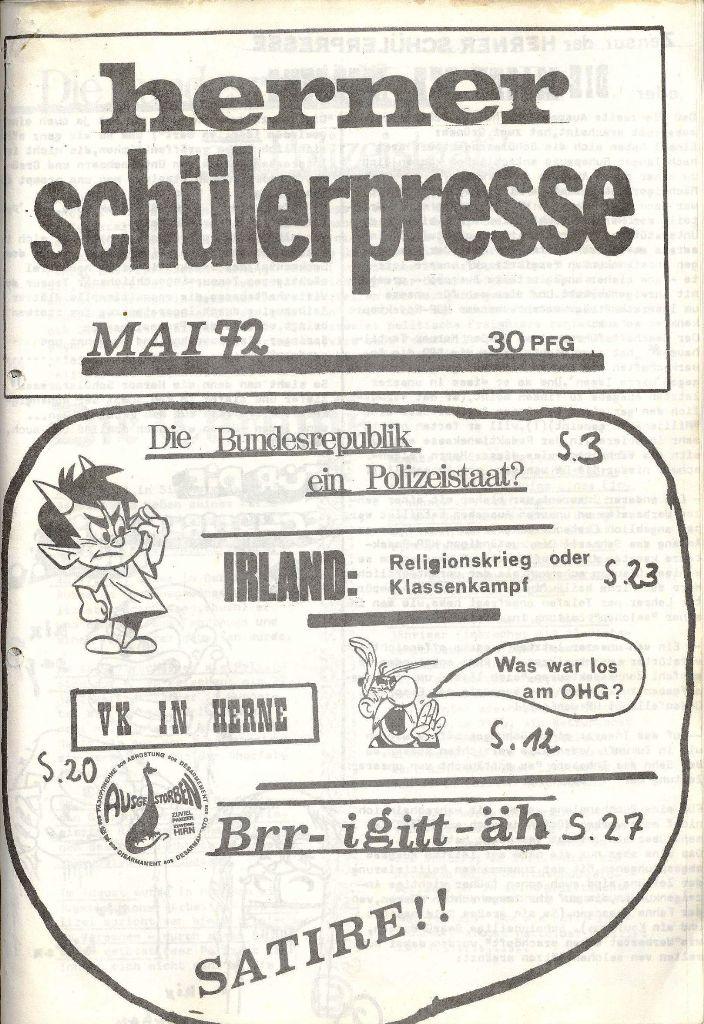 Herner Schülerpresse, Mai 1972, Seite 1