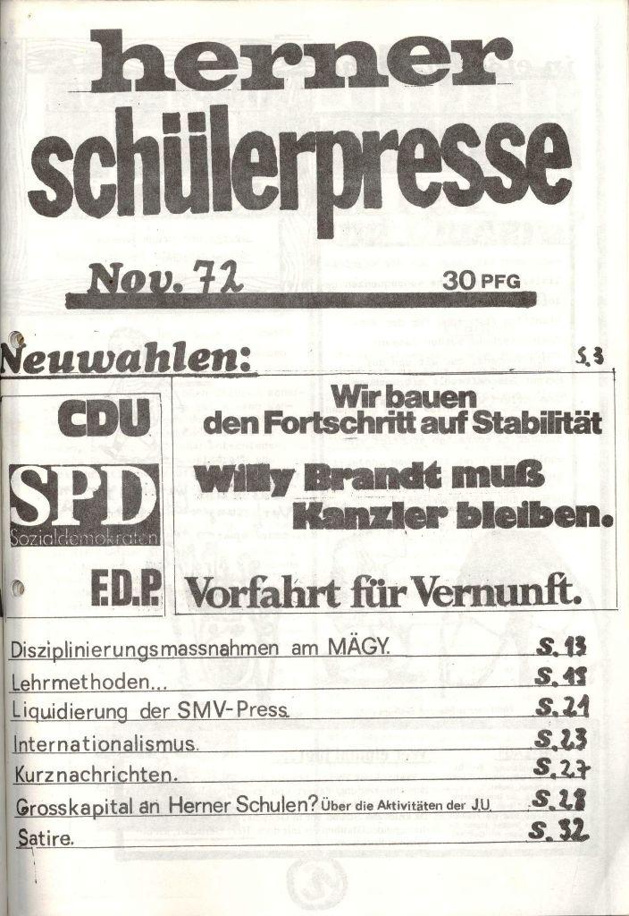 Herner Schülerpresse, Nov. 1972, Seite 1