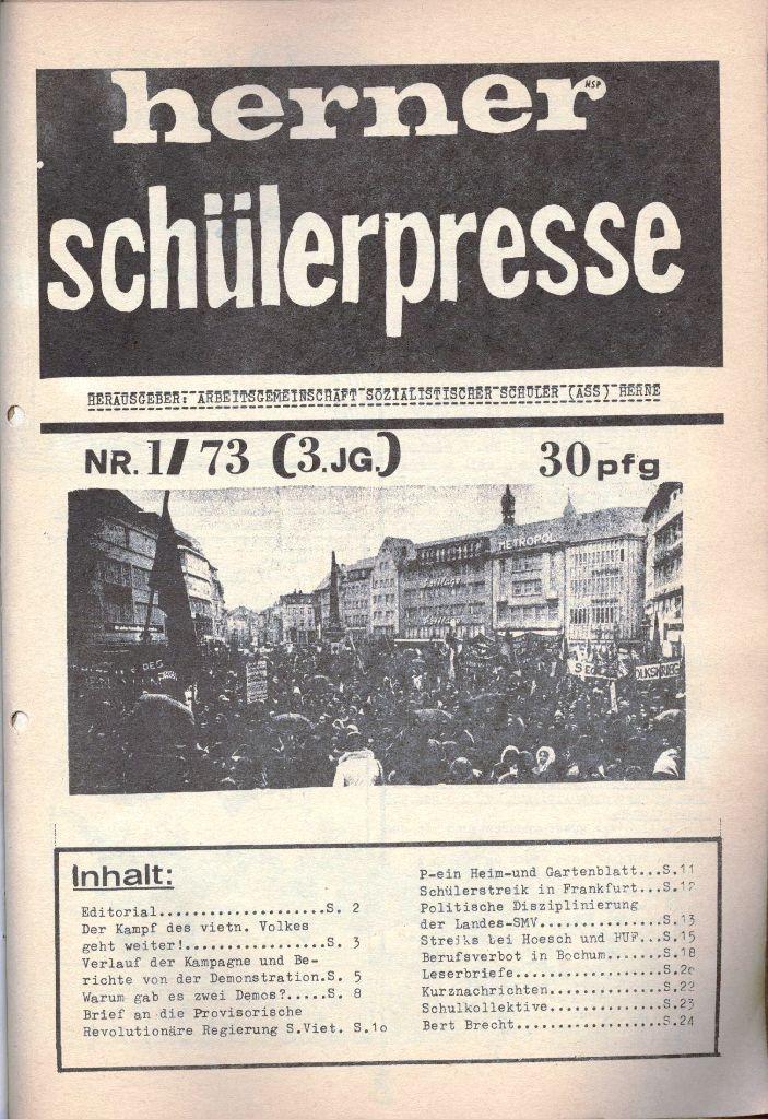 Herner Schülerpresse, 1/73, Seite 1