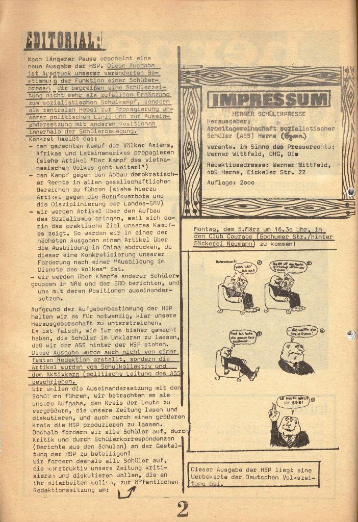 Herner Schülerpresse, 1/73, Seite 2