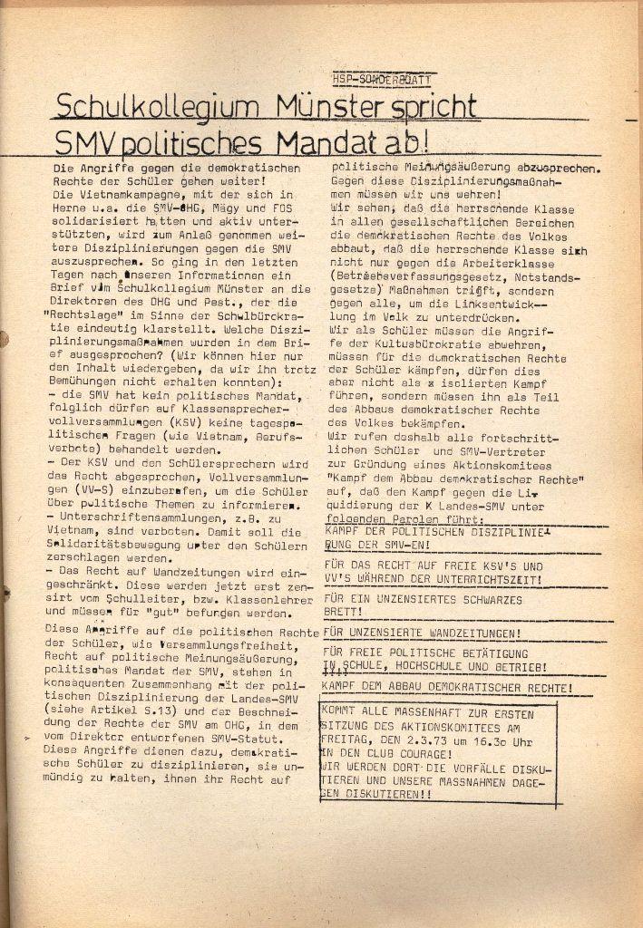 Herner Schülerpresse, Sonderblatt, Seite 1