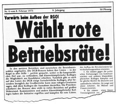 Wählt rote Betriebsräte! (Artikel aus Roter Morgen, Nr. 6 vom 8.2.1975)
