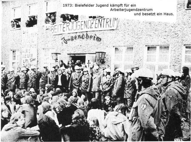 Foto: Bielefelder Jugend kämpft für ein Arbeiterjugendzentrum und besetzt ein Haus (1973)