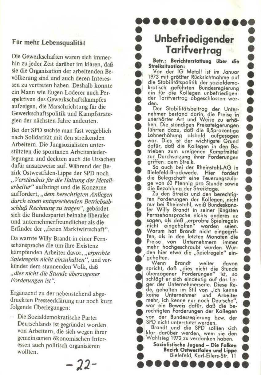 Rheinstal_Dokumentation der SJD_Die Falken, Bezirk Ostwestfalen_Lippe [1973], Seite 22