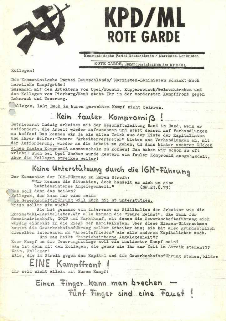 Flugblatt von KPD/ML und RG, Vorderseite [1973]
