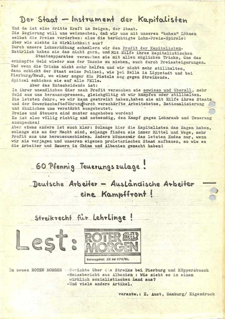 Flugblatt von KPD/ML und RG, Rückseite [1973]