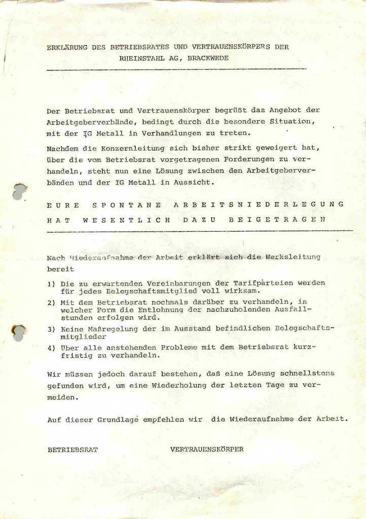 Erklärung des Betriebsrates und Vertrauenskörpers der Rheinstahl AG, Brackwede [1973]