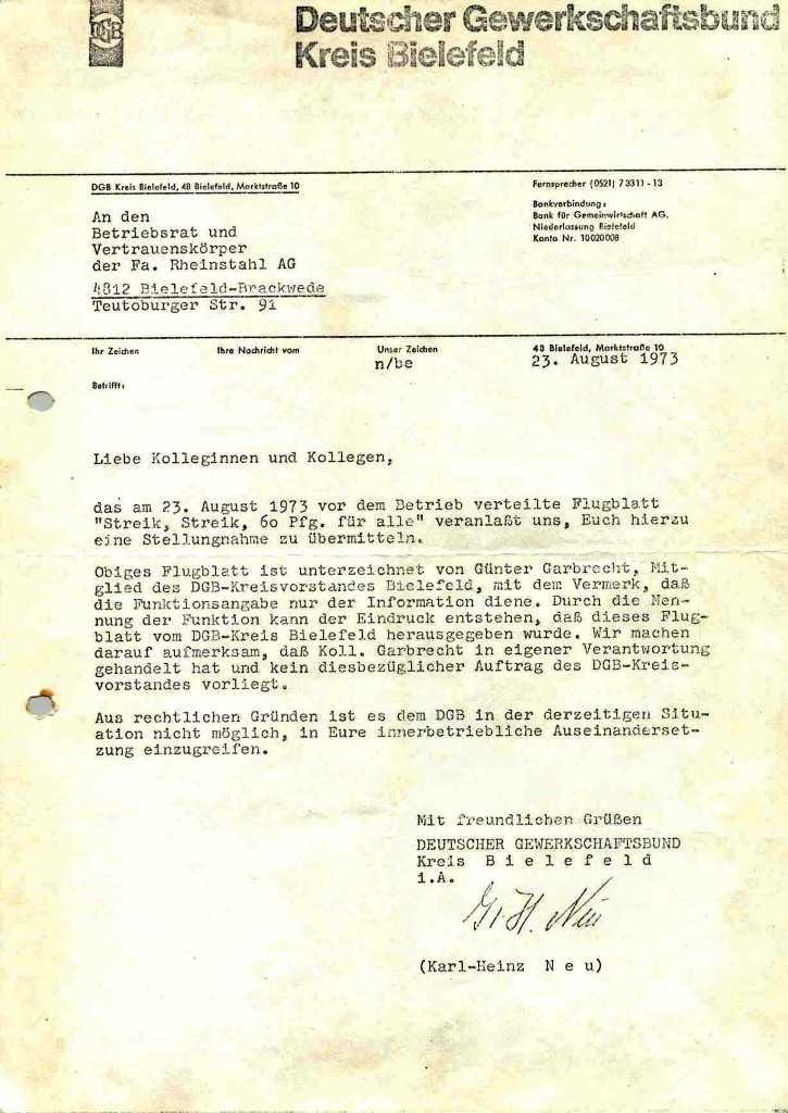DGB KV Bielefeld: Brief an BR und VLK Rheinstahl vom 23.8.1973