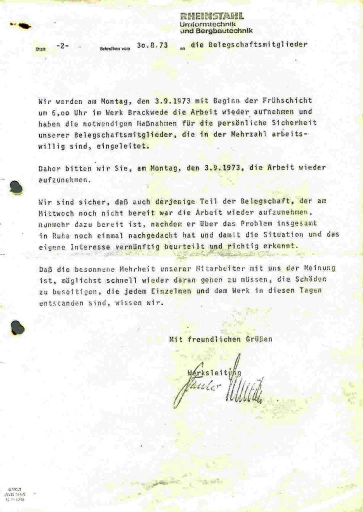 Brief der Rheinstahl_Werksleitung an die Mitarbeiter vom 30.8.1973, Seite 2