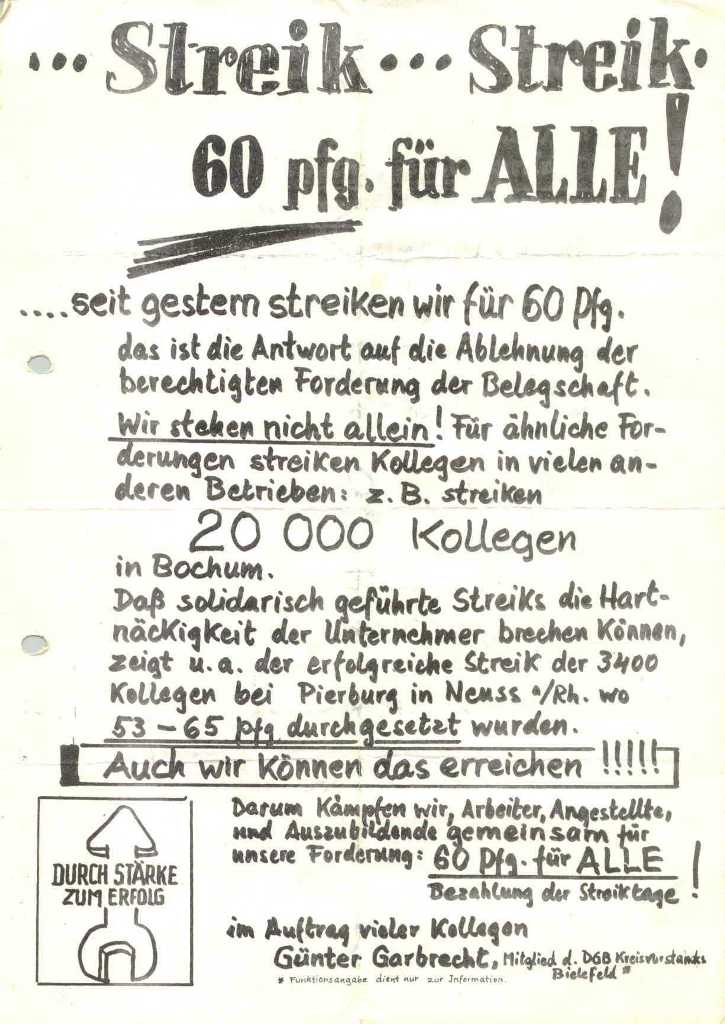 Streik – Streik – 60 Pfg. für alle! _ Flugblatt von Günter Garbrecht (DGB) im Auftrag vieler Kollegen [23.8.1973]