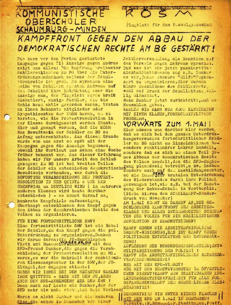"""Flugblatt der Kommunistischen Oberschüler Schaumburg/Minden (KOSM) für das Besselgymnasium: """"Kampffront gegen Abbau der demokratischen Rechte am BG gestärkt!"""" (April 1973)"""