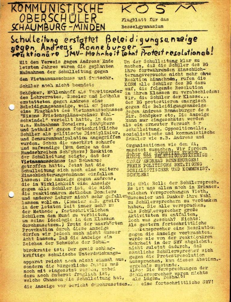"""Flugblatt der Kommunistischen Oberschüler Schaumburg/Minden (KOSM) für das Bessel_Gymnasium: """"Schulleitung erstattet Beleidigungsanzeige ..."""", Seite 1 (März 1973)"""
