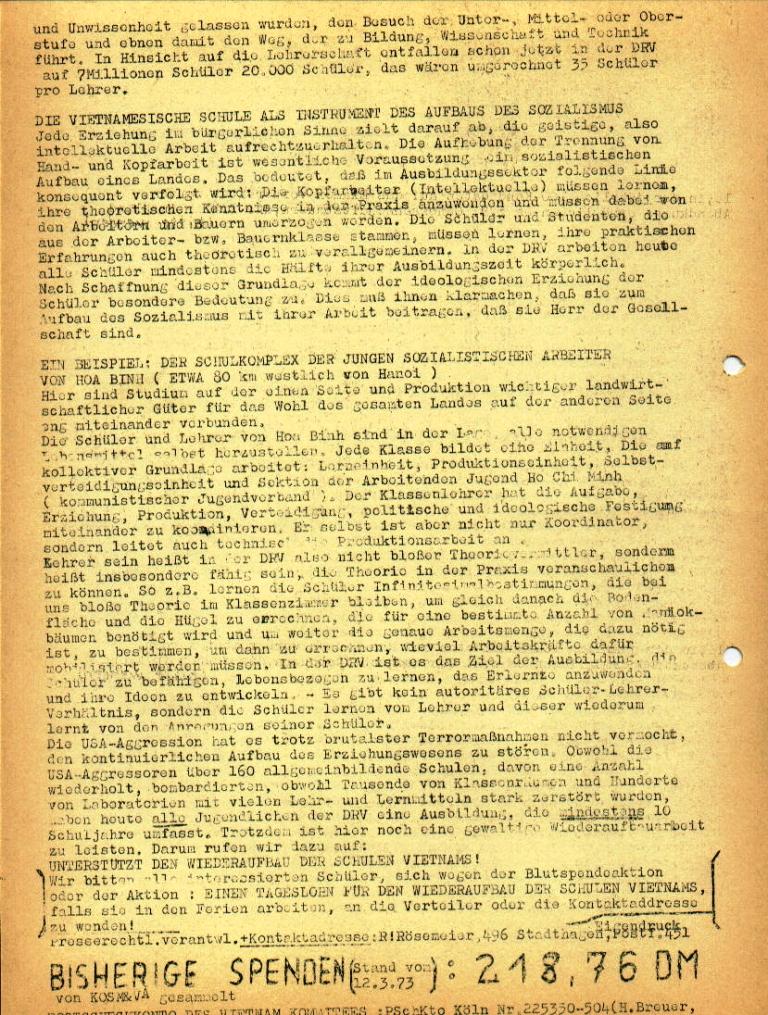 """Flugblatt der Kommunistischen Oberschüler Schaumburg/Minden (KO) für das Altsprachliche und das Bessel_Gymnasium: """"DRV: Schulen im Dienste des Volkes"""", Seite 2 (März 1973)"""
