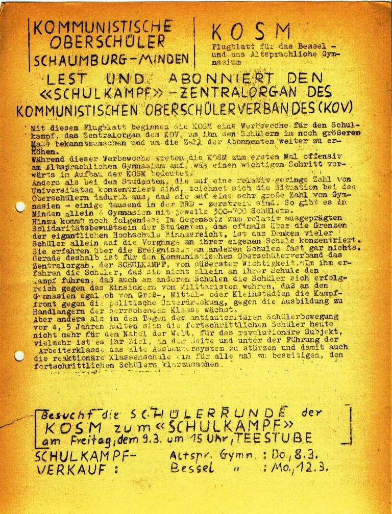 """Flugblatt der Kommunistischen Oberschüler Schaumburg/Minden (KOSM) für das Altsprachliche und das Bessel_Gymnasium: """"Lest und abonniert den 'Schulkampf'"""", Seite 1 (März 1973)"""