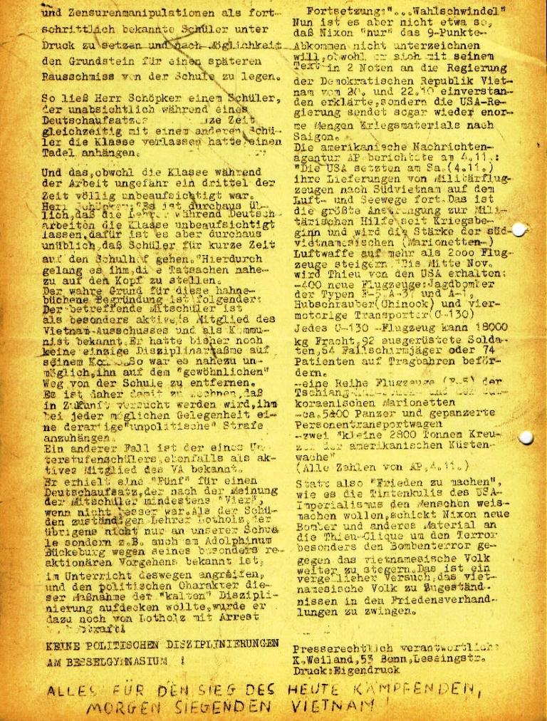 Flugblatt des Vietnam_Ausschusses des NVK am Besselgymnasium Minden, Seite 2 (November 1972)