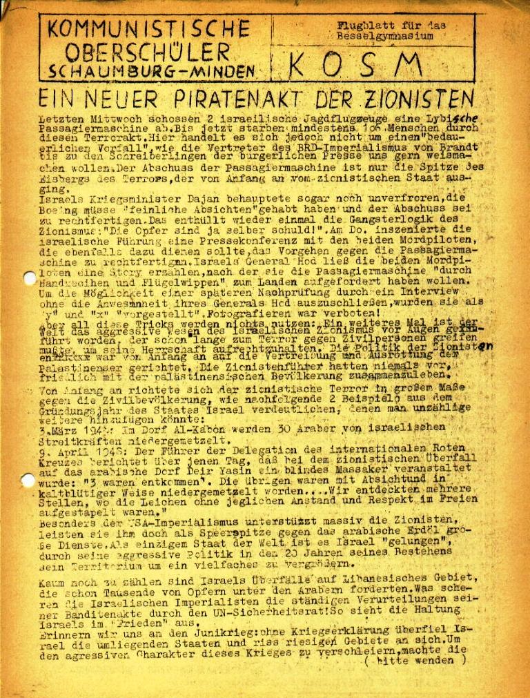 """Flugblatt der Kommunistischen Oberschüler Schaumburg/Minden (KOSM) für das Bessel_Gymnasium: """"Ein neuer Piratenakt der Zionisten"""", Seite 1 (Februar 1973)"""