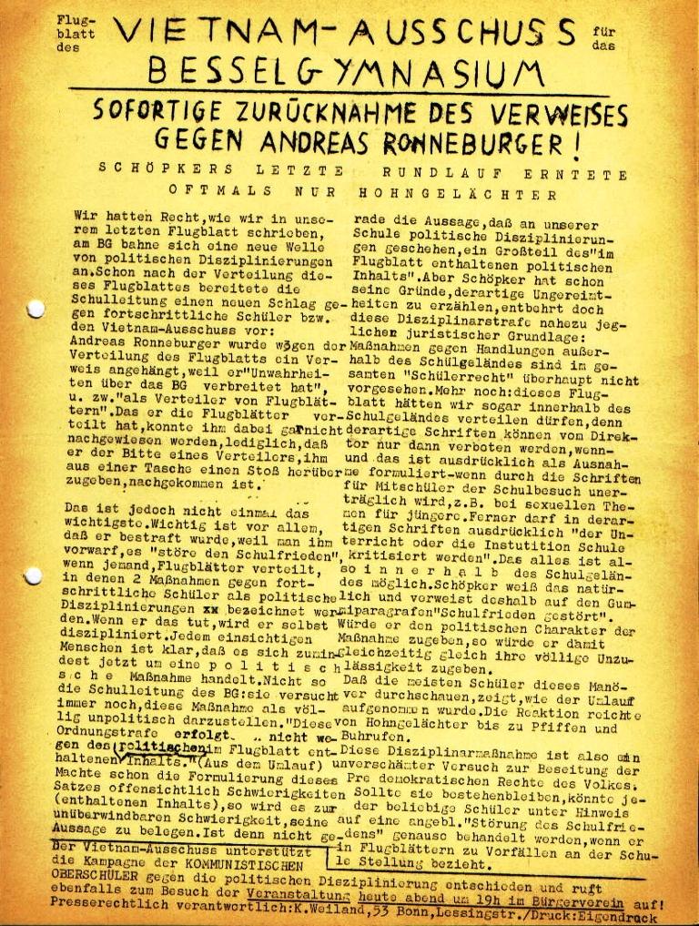 Flugblatt des Vietnam_Ausschuss des NVK am Besselgymnasium Minden (Dezember 1972)
