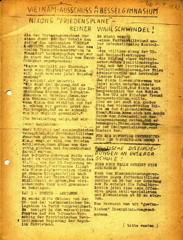 Flugblatt des Vietnam_Ausschusses des NVK am Besselgymnasium Minden, Seite 1 (November 1972)