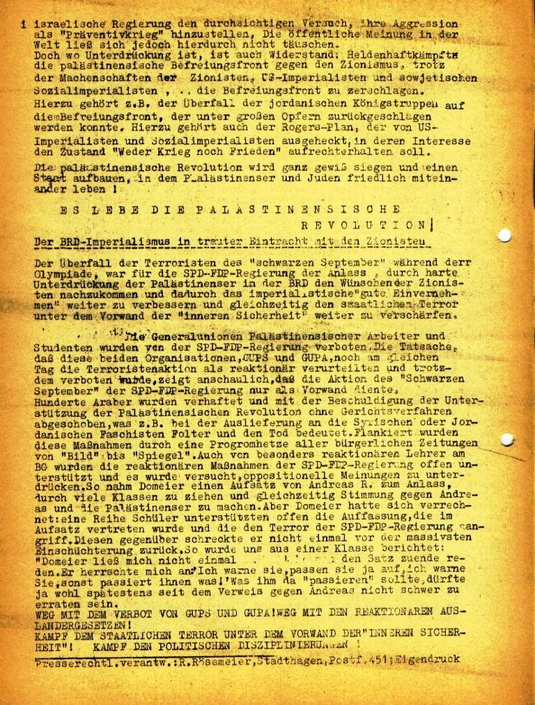 """Flugblatt der Kommunistischen Oberschüler Schaumburg/Minden (KOSM) für das Bessel_Gymnasium: """"Ein neuer Piratenakt der Zionisten"""", Seite 2 (Februar 1973)"""