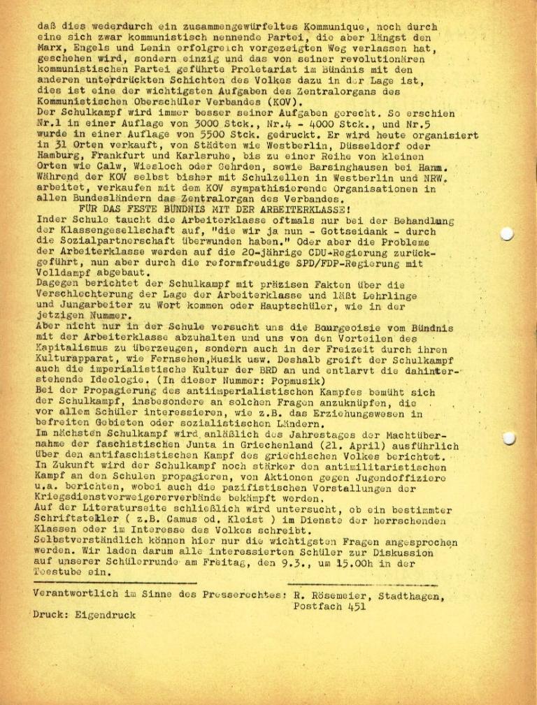 """Flugblatt der Kommunistischen Oberschüler Schaumburg/Minden (KOSM) für das Altsprachliche und das Bessel_Gymnasium: """"Lest und abonniert den 'Schulkampf'"""", Seite 2 (März 1973)"""