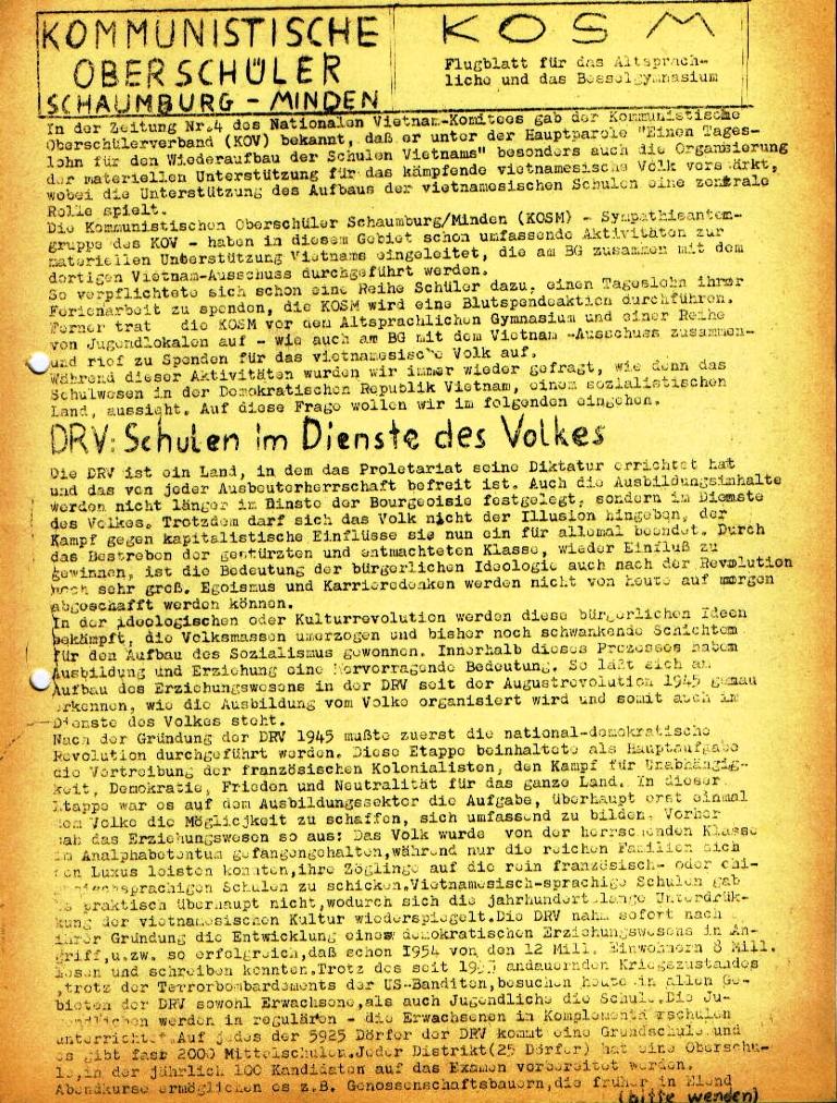 """Flugblatt der Kommunistischen Oberschüler Schaumburg/Minden (KO) für das Altsprachliche und das Bessel_Gymnasium: """"DRV: Schulen im Dienste des Volkes"""", Seite 1 (März 1973)"""