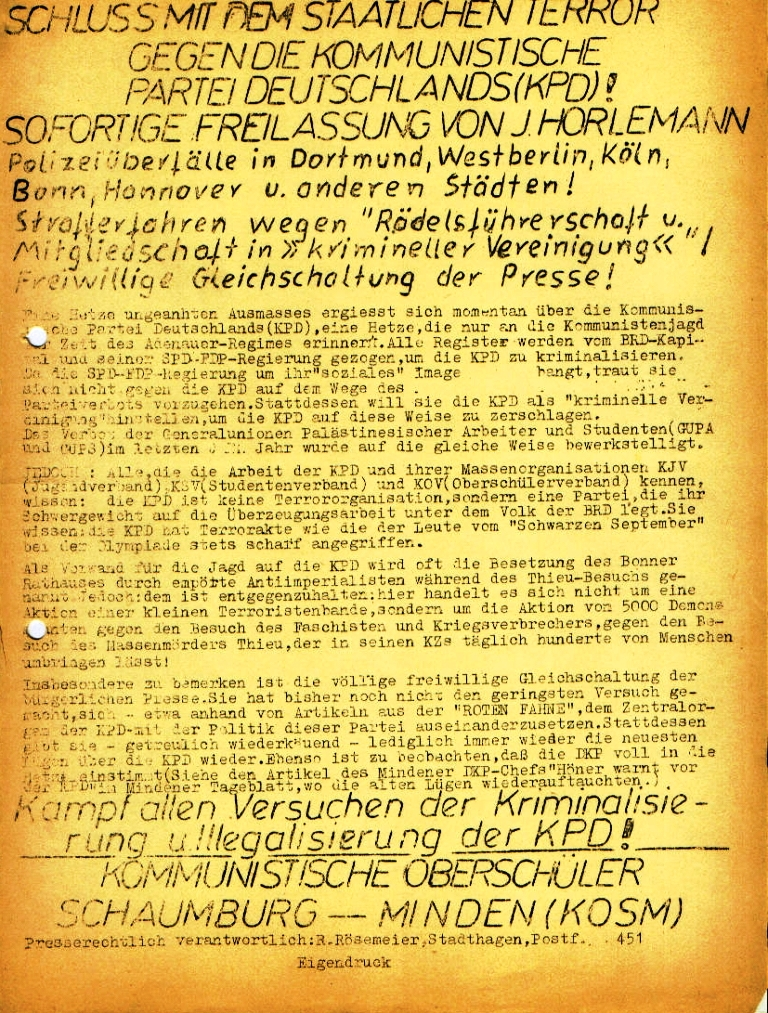 """Flugblatt der Kommunistischen Oberschüler Schaumburg/Minden (KOSM): """"Schluss mit dem staatlichen Terror gegen die Kommunistische Partei Deutschlands (KPD)!"""" (April 1973)"""