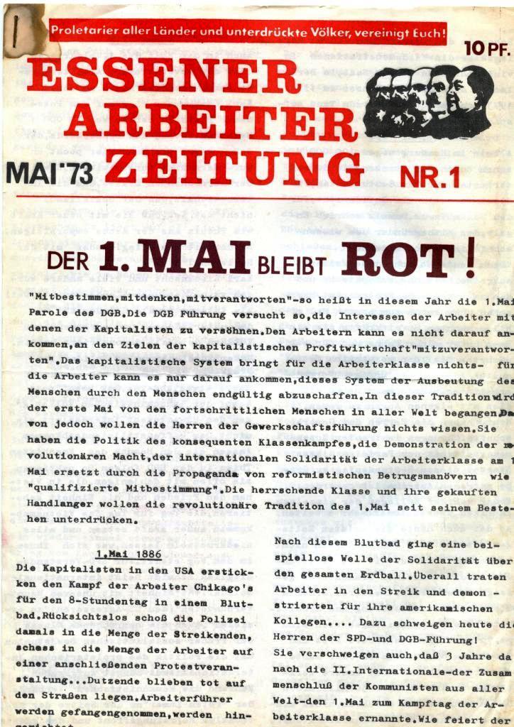 Essener Arbeiterzeitung, Nr. 1, Mai 1973, Seite 1